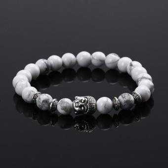Harga High Quality Store New Handmade Mens Buddha Head Natural Lava Stone 8MM Beads Elastic Agate Bracelet White