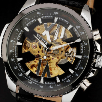 Harga Skeleton Tachymeter Automatic Roman Mechanical Gear Stainless Steel Case Watches