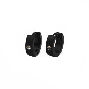 MagiDeal 2pcs Stainless Steel Mens Black Huggie Hoop Earrings Huggie Snap Earrings - intl