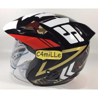 Harga HELM MDS PROTECTOR #7 BLACK RED HALF FACE