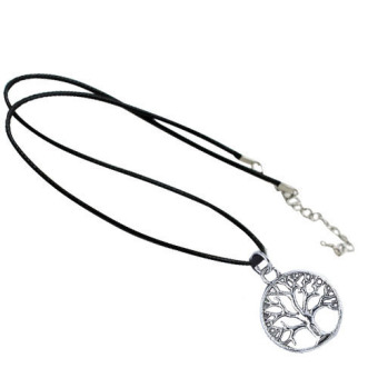 Harga Fang Fang Antique Silver Plated Pendant Leather Cord Choker Necklace Hamsa Hand Yin Yang (Silver and Black)