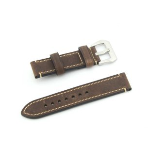 Leather Watch Band Strap Replacement Watch Belt 22mm for Man or Woman (Brown)