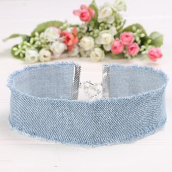 Harga Yika Women Frayed Denim Jeans Choker Necklace - intl