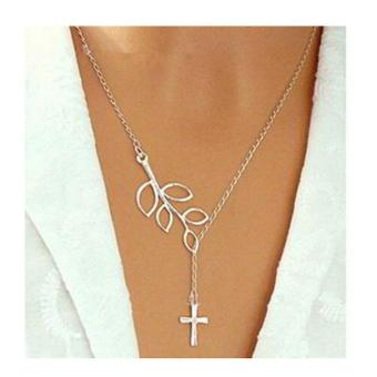 Harga Cannies Kalung Esty cross leaf shape decorated simple design silver/0A6A88