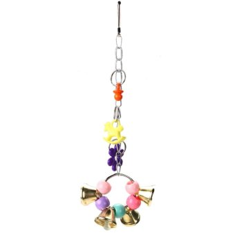 Harga Acrylic Bird Cage Parrot Macaw Cage Chew Bell Toys Swing Scratcher Cockatie (Multicolor) - intl