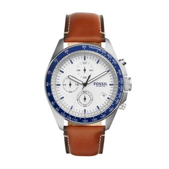 Fossil Watch Sport 54 Brown Stainless-Steel Case Leather Strap Mens NWT + Warranty CH3029