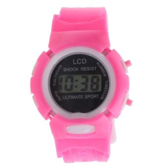 Harga Boys Girls Students Time Electronic Digital LCD Wrist Sport Watch Pink - intl