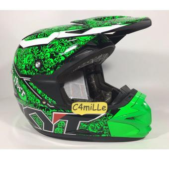 Harga HELM KYT CROSS OVER SKULL BLACK GREEN FLUO TRAIL SUPER MOTO FULL