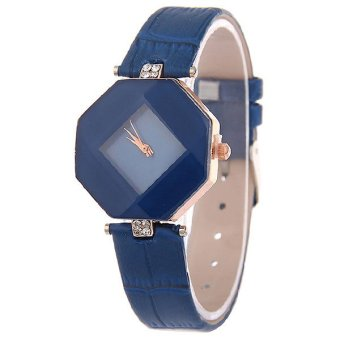 Harga Santorini Jam Tangan Wanita Fashion Faux Leather Luxury Women Analog Quartz Wrist Watch - Blue