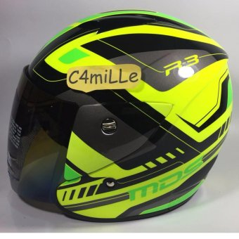 Harga HELM MDS R3 SPORT SUPER FLUO YELLOW GREEN FLUO HALF FACE