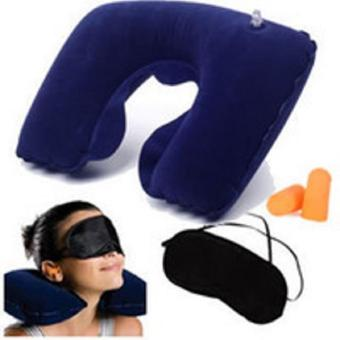 Travel Pillow Set 3 in 1 Bantal Tiup - Penutup Mata - Penutup Telinga