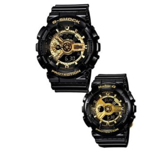 Harga Casio G-Shock and Baby-G Couple Black Resin Strap Watches GA-110GB-1A & BA-110-1A (Black)