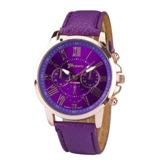 Harga YBC Fashion Women Roman Numerals Quartz Leather Wrist Watch Purple