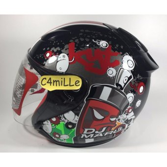 Harga HELM KYT DJ MARU MOTIF #5 BLACK RED HALF FACE