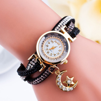 Harga Santorini Jam Tangan Wanita Moon Star Fashion Diamond Analog Style Faux Leather Bracelet Watch - Black