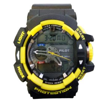 Pilot Dual Time Jam Tangan Pria Hitam Kuning Rubber Strap P611 .