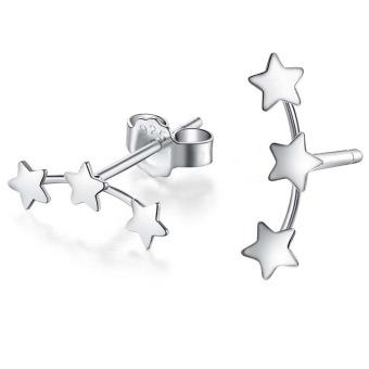 Hequ Mini Bintang Tiga Telinga Kancing Berlapis Perak Anting-Anting (Silver)