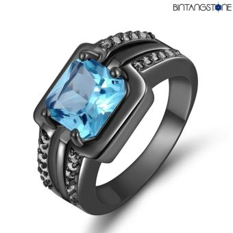 Harga Cincin Import Blue Aquamarine 18K Black Gold Filled Mans Ring
