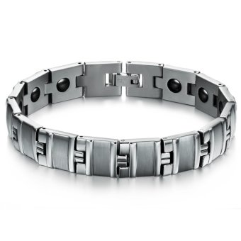 Harga Men's Titanium Steel Bracelet Health Care Magnetic Bracelets - intl