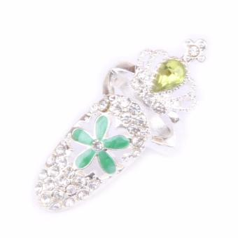 Harga Fancyqube Drop Shipping Charminng Jewelry Bowknot Crown Crystal Finger Nail Art Ring Fake Nail Protection -3 - intl