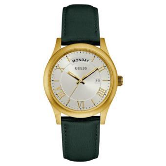 GUESS W0924G2 - Jam Tangan Pria - Leather - Green - Gold