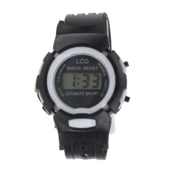 Harga Boys Girls Student Time Sport Electronic Digital LCD Wrist Watch Black - intl