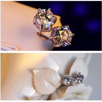 Harga Terbaru Oh baru Tindik anting-anting berlian imitasi kristal kubik 925 Sterling Perak anting