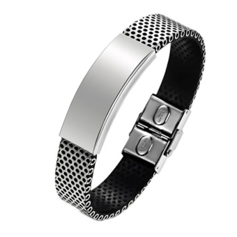 Harga Jiayiqi Hollow Strap Stainless Steel Silicone Wristband Bracelet (Intl)