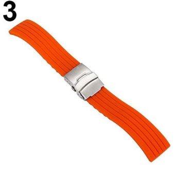 BODHI Waterproof Soft Silicone Watch Strap Deployment Buckle Stripe Band 16-24mm 22mm (Orange