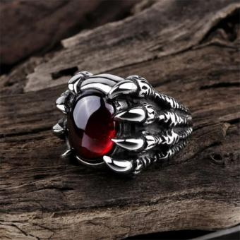 Harga Fashion Inoxidable Anillo New Male Ring Popular Punk Style Stainless Steel Rings jewelry Ruby Skull Claw Ring - intl
