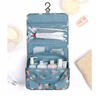 Harga HengSong Multi-function Hanging Wash Gargle Bag Portable Cosmetic Bag Female Travel Folding Toiletry Bags Blue