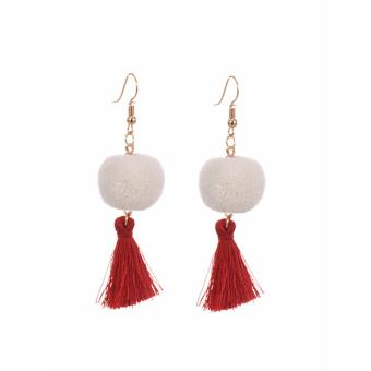 Harga LRC Anting White Fuzzy Ball&tassel Decorated Simple Earrings