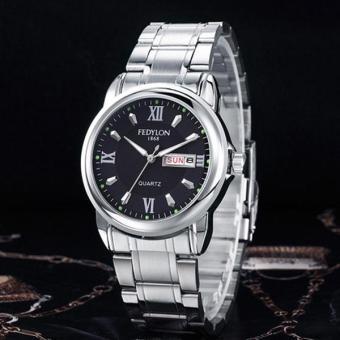 YBC Men Stainless steel Watch Calendar Waterproof Quartz Wrist Watches - intl
