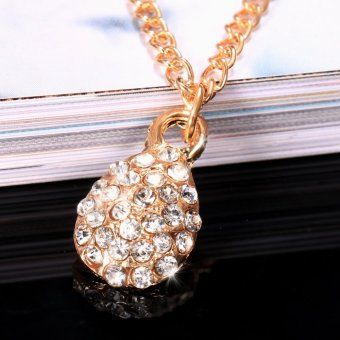 Harga Yika Water Drop Rhinestone Pendant Chain Necklace (Gold) - intl