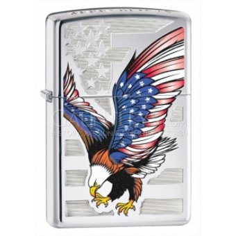 Harga Zippo 28449 Eagle Flag High Polish Chrome Original USA