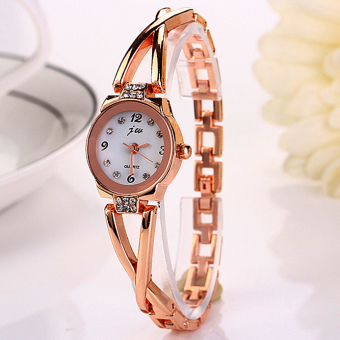Harga Yika Quartz Stainless Steel Analog Bracelet Wrist Watch (Gold+White)