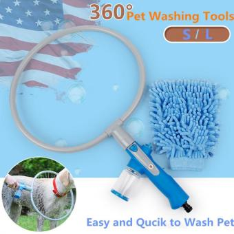 Harga Fashion Woof Pet Dog Washer 360 Degree Bath Shower Washer Pet Cleaner Dog Accessories S (Blue)
