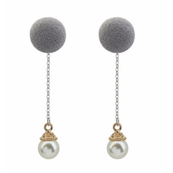Harga LRC Anting Tusuk Fashion Grey Pearls & Fuzzy Ball Decorated Color Matching Long Earrings