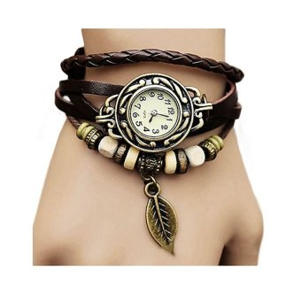 Harga Santorini Jam Tangan Wanita Fashion Leather Strap Leaf Style Women Watch - Brown