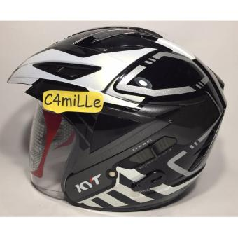 Harga HELM KYT SCORPION KING R MOTIF #7 BLACK WHITE PEARL DOUBLE VISOR HALF FACE