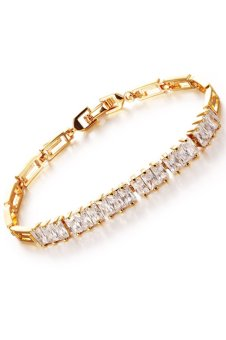 Harga Olen AAA Zircon Alloy Wedding Bracelet (Gold)