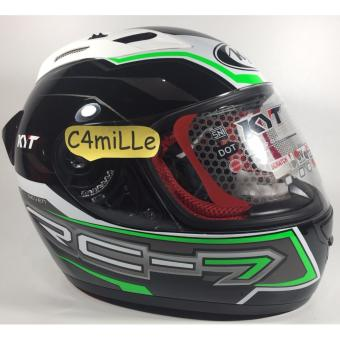 Harga Helm Full Face KYT RC7 / RC 7 #14 Black White Green Fluo
