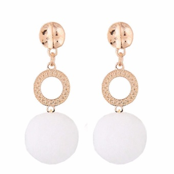 Harga LRC Anting Tusuk Fashion White Fuzzy Ball Pendant Decorated Color Matching Earrings