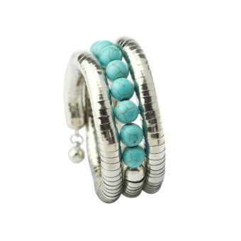 Jiayiqi Snake Pattern Tube 8 Little Beads Turquoise Vintage Silver Bangle Bracelet