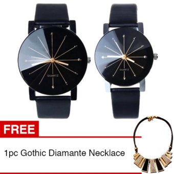 Harga Jam Tangan Quartz 1 Pair Pria dan Wanita Strap Kulit PU Men Women Stainless Steel Leather Couple Watch - Black + Gratis 1pc Gothic Diamante Necklace