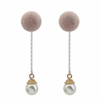 Harga LRC Anting Tusuk Fashion Light Pink Pearls & Fuzzy Ball Decorated Color Matching Long Earrings