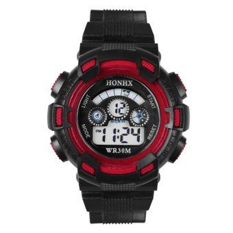 Harga Cool Men's Boy Casual Sports LCD Digital Electronic Rubber Band Wrist Watch – Red