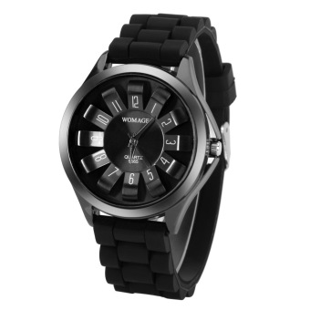 Harga Outdoor Sports Silicone Colorful Jelly Watch Quartz Electronic Watch Black (Intl)
