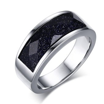 Harga Women Fashon Ring Dark Blue Sand Stone Silver Color Big Stone Engagement Wedding Band Jewelry