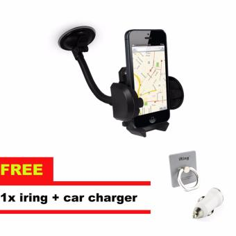 Harga Phone Holder Mobil Untuk HP / GPS- Hitam + iRing Mobile Phone Stand - White + Car Charger 2A Non Cable Usb - Putih